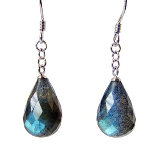 Sterling Silver Pear-cut Labradorite Gemstone Dangle Earrings