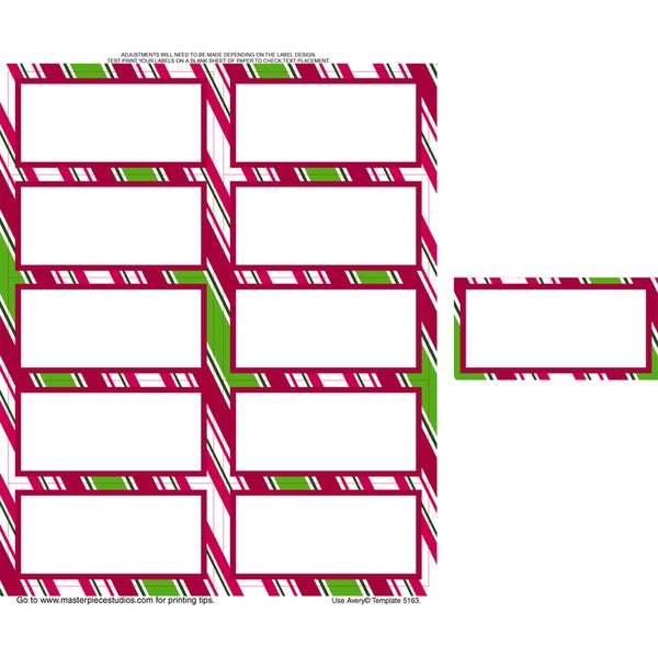 Holiday Stripes 2x4 Shipping Labels