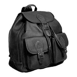 David King Leather 314 Double Front Pocket Backpack Black