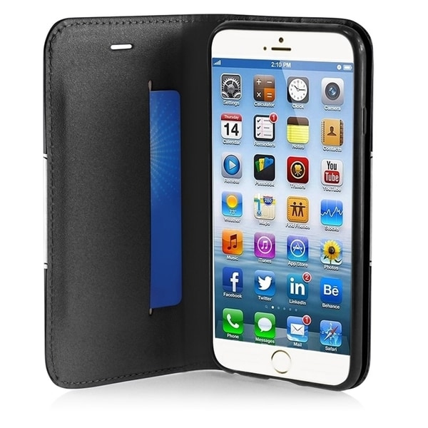 INSTEN Black/ White Wallet Leather Folio Book-Style Flip Phone Case Cover with Stand for Apple iPhone 6