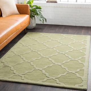 Hand-Woven Amy Tone-on-Tone Lattice Wool Rug (6' Round)