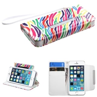BasAcc Stand Lanyard Wallet Magnetic Flap Leather Case for Apple iPhone 5/ 5S