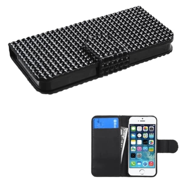 INSTEN Black Diamonds Wallet Magnetic Flap Leather Phone Case Cover for Apple iPhone 5/ 5S