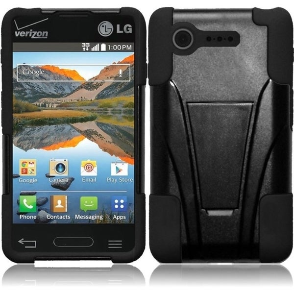 INSTEN Shock Proof PC Soft Silicone Dual Hybrid Phone Case Cover for LG Optimus Zone 2/ Fuel 13561381
