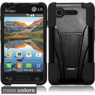INSTEN Shock Proof PC Soft Silicone Dual Hybrid Phone Case Cover for LG Optimus Zone 2/ Fuel