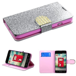 INSTEN Wallet Stand Diamante Magnetic Flap Leather Phone Case Cover for LG Optimus L70