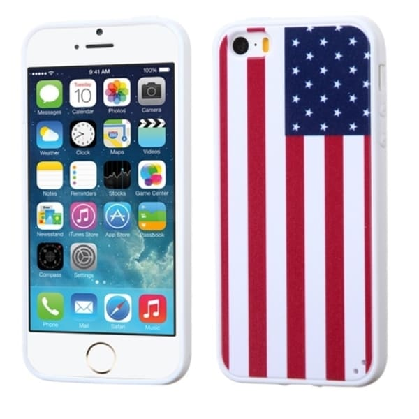 INSTEN United States National Flag TPU Rubber Gel Phone Case Cover for Apple iPhone 5/ 5S