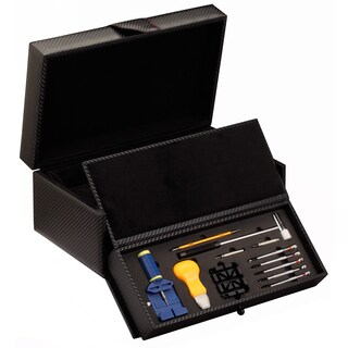 Diplomat Black Carbon Fiber Pattern 10-watch Case and Tool Kit Drawer with Tools Included
