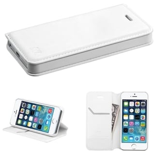 INSTEN White Stand Card Wallet Flap Leather Phone Case Cover for Apple iPhone 5/ 5S