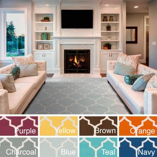 Artistic weavers hand woven nicole lattice cotton area rug for 7x9 bathroom designs