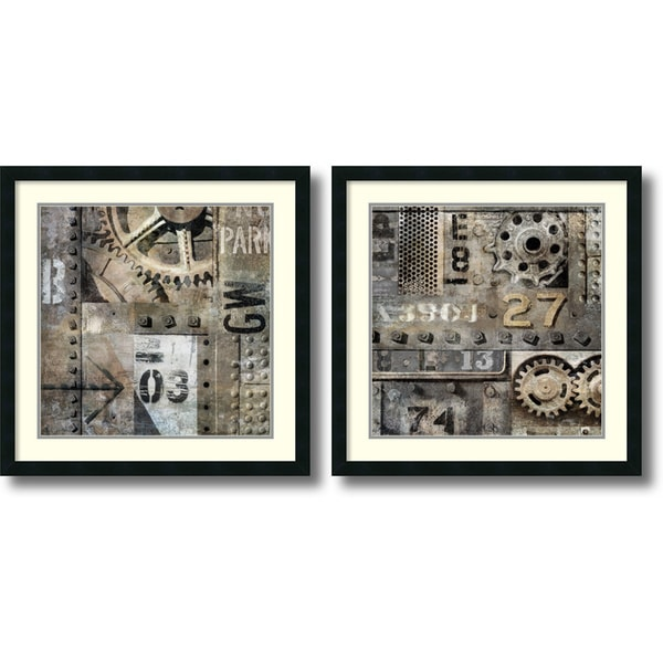 Dylan Matthews 'Industrial- set of 2' Framed Art Print 26 x 26-inch Each