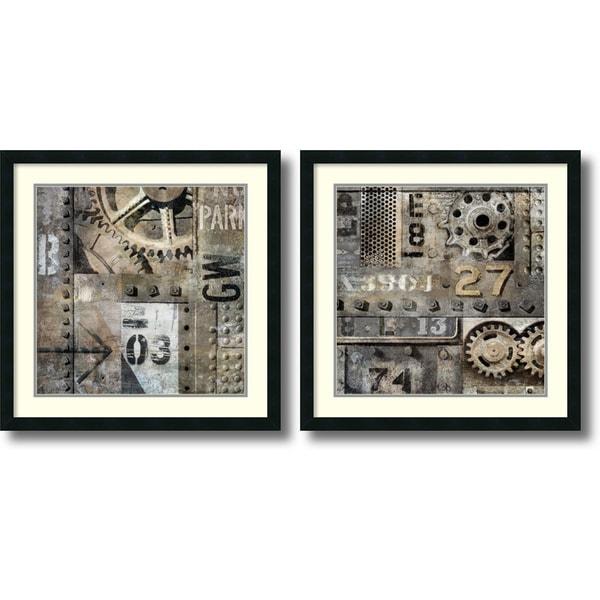 Dylan Matthews 'Industrial- set of 2' Framed Art Print 26 x 26-inch Each