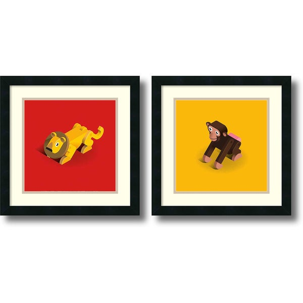 Bo Virkelyst Jensen 'Lion and Monkey- set of 2' Framed Art Print 18 x 18-inch Each