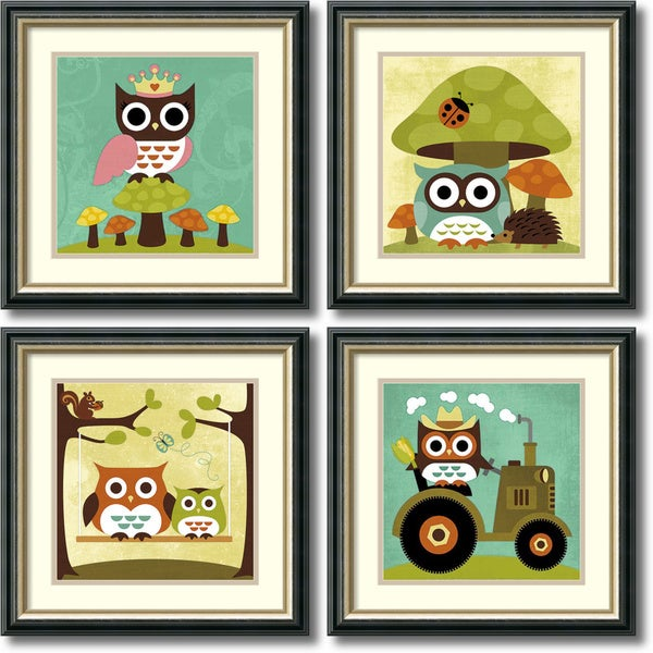 Nancy Lee 'Owls Owls Owls- set of 4' Framed Art Print 19 x 19-inch Each