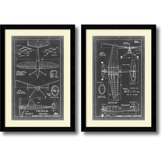 Vision Studio 'Aeronautic Blueprint III & IV- set of 2' Framed Art Print 26 x 37-inch Each
