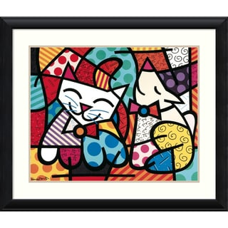Romero Britto 'Happy Cat and Snob Dog' Framed Art Print 37 x 31-inch