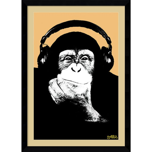 Steez 'Headphone Monkey' Framed Art Print 31 x 43-inch