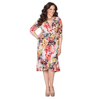 Women's Plus Size Sunset Tropics Flounce Wrap Dress