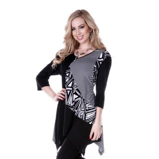 Women's Black/ White Multi-pattern 3/4-length Sleeve Tunic