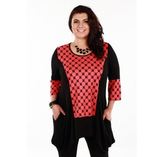 Women's Plus Red Polka-dot 3/4-length Sleeve Tunic