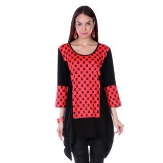 Women's Red Polka-dot 3/4-length Sleeve Tunic