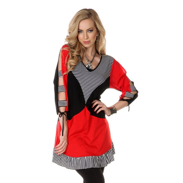 Firmiana Women's Open Sleeve Red Stripped Top
