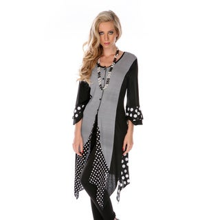 Firmiana Women's Black Spotted and Striped 3/4-sleeve Tunic