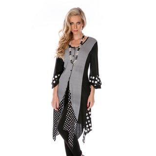 Women's Black Spotted and Striped 3/4-sleeve Tunic