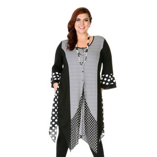 Women's Black Stripped Polka-dot 3/4-length Sleeve Tunic