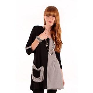 Women's Black Stripe 3/4-length Sleeve Top