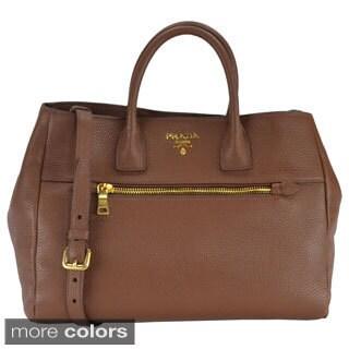 Prada Vitello Daino Leather Double Handle Tote Bag