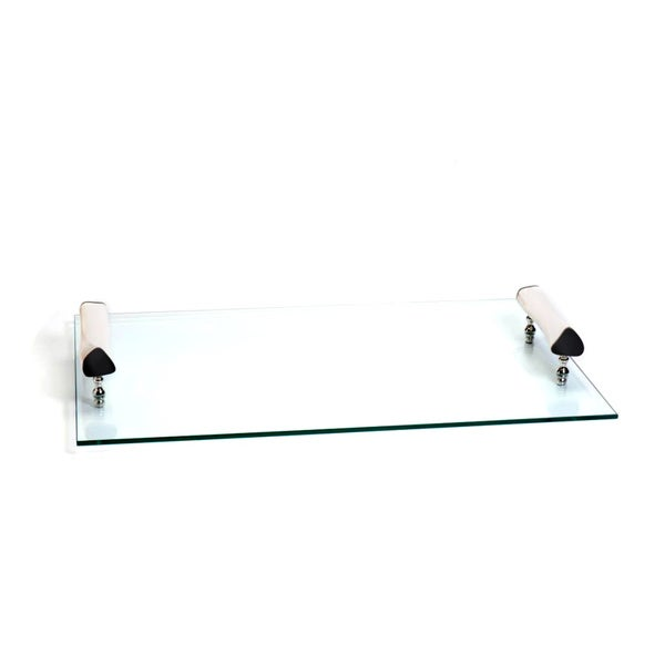 Casablanca Rectangle Tray with White Bone Handles and Knife