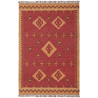 Hand-woven Antiquity Jute and Wool Flat Weave Area Rug (9' x 12')