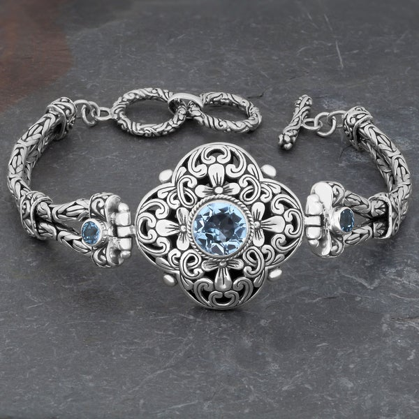 Sterling Silver Blue Topaz 'Floral Cawi' Toggle Bracelet (Indonesia)