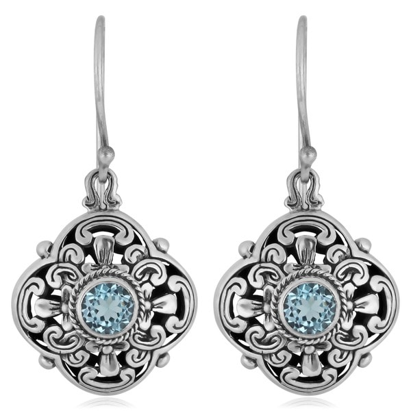 Sterling Silver Blue Topaz 'Floral Cawi' Dangle Earrings (Indonesia)
