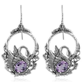 Sterling Silver Amethyst 'Dancing Swan' Earrings (Indonesia)