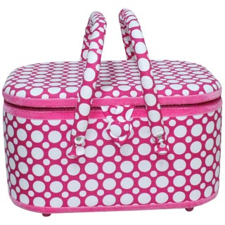 "Oval Sewing Basket-12.625""X8.625""X7.25"" Hot Pink Dots"