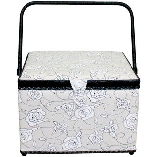 "Square Sewing Basket-11.75""X11.75""X8.25"" Black & White Floral"