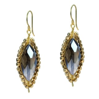 Glitzy Oval Crystal Dangle Double Sided Brass Earrings (Thailand)