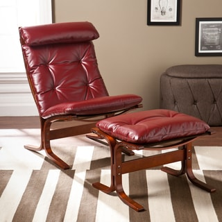 Upton Home Westbrook Ruby Red Chair and Ottoman