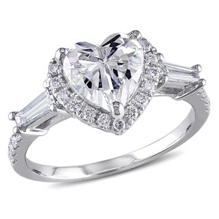 Miadora 14k White Gold 2 1/10ct TDW Heart Diamond Ring (D-E, SI1-SI2)