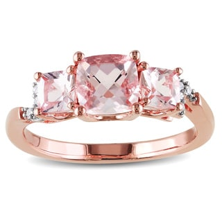 Miadora Rose Plated Silver Morganite and Diamond Accent 3-stone Ring