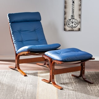 Upton Home Westbrook Royal Blue Chair and Ottoman