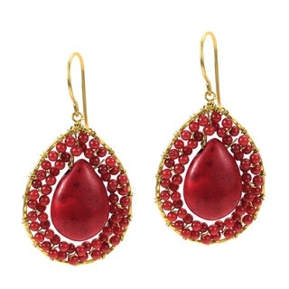 Mosaic Teardrop Red Coral Stone Handmade Brass Earrings (Thailand)
