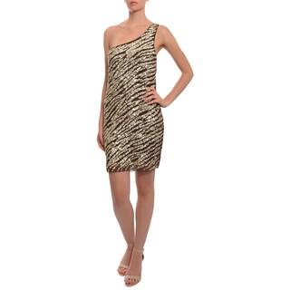Alice + Olivia Women's Brown and Goldtone Sequined One-shoulder Dress