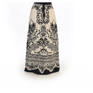 Hadari Women's Black/ White Brocade Maxi Skirt