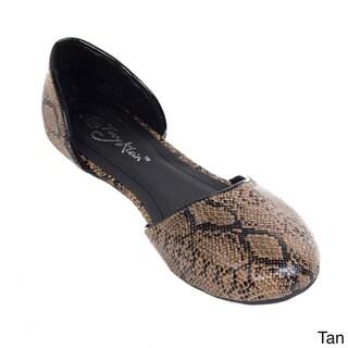 Women's Faux Snakeskin D'orsay Ballerina Flats