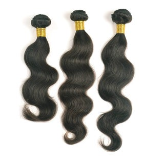 Unprocessed Natural Black Peruvian Virgin Remi Hair-Body Wave 3-piece Hair Extension Set