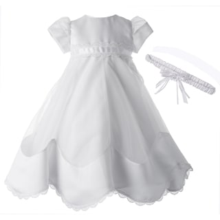 Small World White Christening Gown with Headband