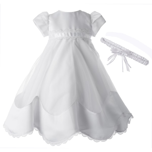 Girls White Christening/ Baptism Gown with Headband